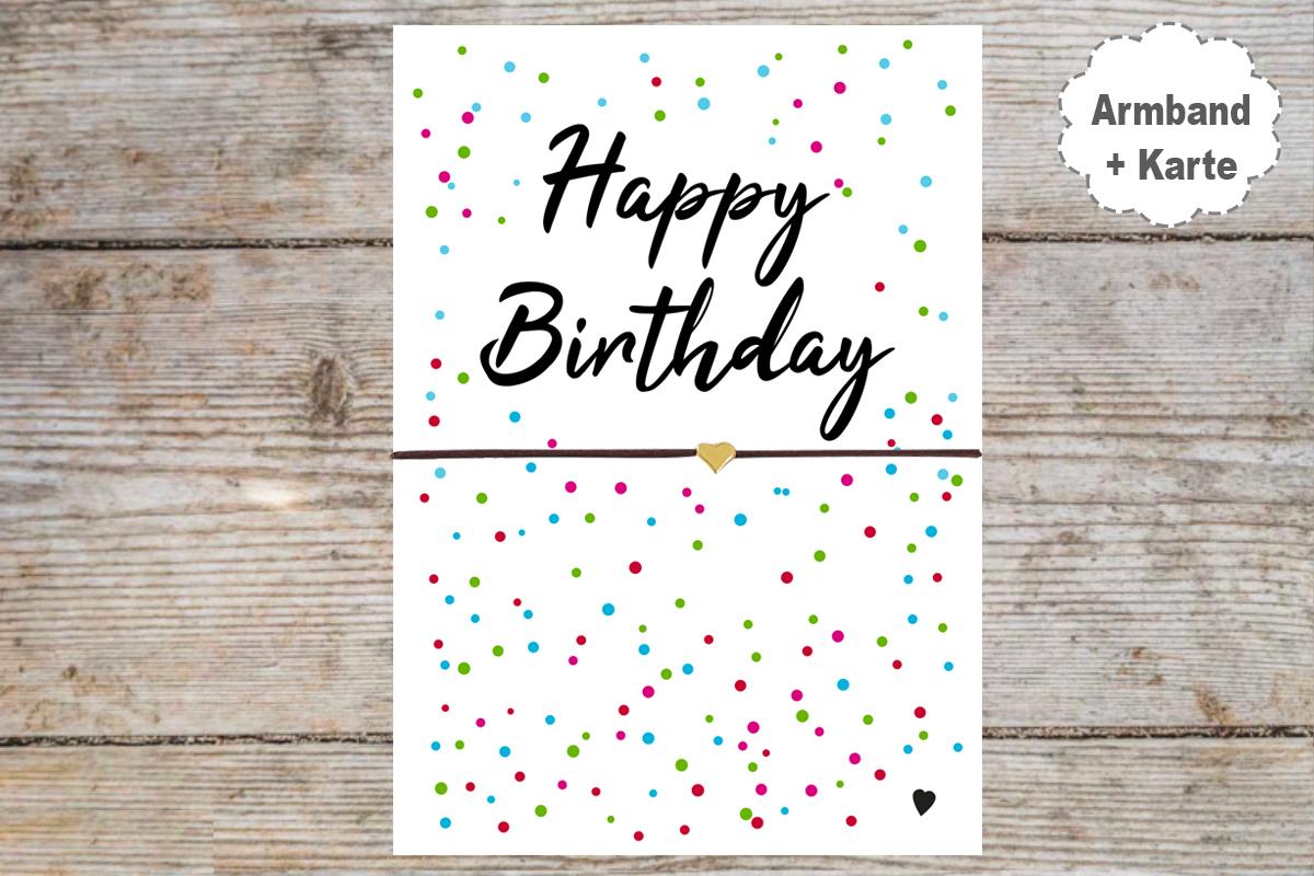 Happy Birthday Karte.Wunscharmband Freundschaftsarmband Mit Karte Happy Birthday