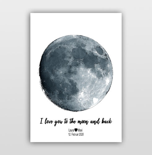 "Personalisierbares Bild Mond ""I love you to the moon and back"""