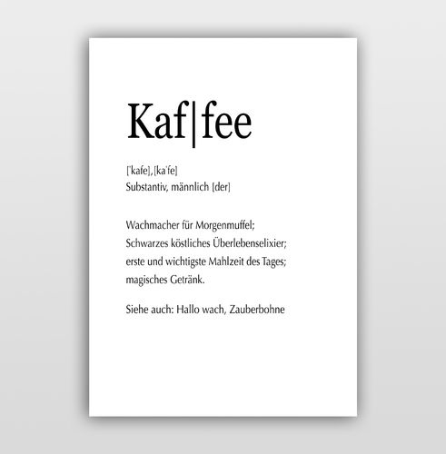 "Poster Kalligrafie ""Definition Kaffee"""