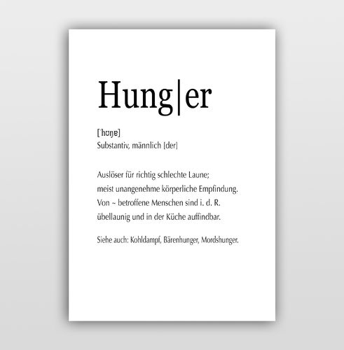 "Poster Kalligrafie ""Definition Hunger"""